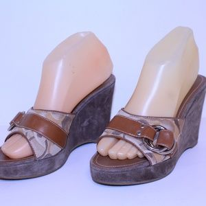 COACH MERRIDITH OPT ART WEDGE HEELS 7M